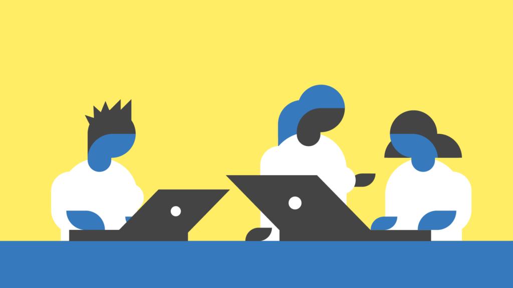 Reset - Dessin représentant trois personnes stylisées et des ordinateurs