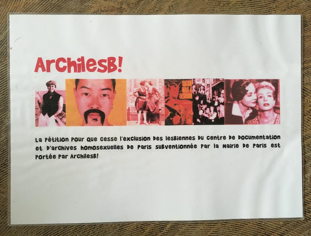 Pétition pour que cesse l'exclusion des lesbiennes du centre de documentation de d'archives homosexuelles de Paris - archives LGBTQI Paris