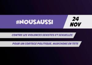 Collectif Nous Aussi contre les violences sexistes et sexuelles. Marchons le 24 novembre 2018