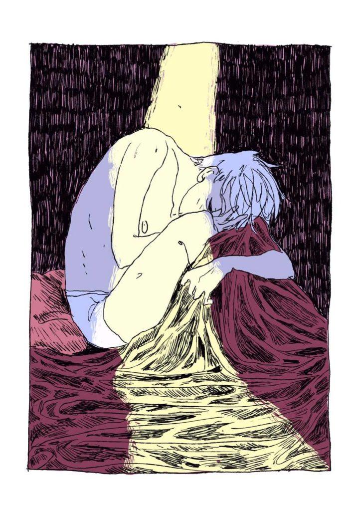 extrait de la bd ede Quentin Zuttion : sous le lit. Auteur de bd gay qu'on aime. Friction magazine
