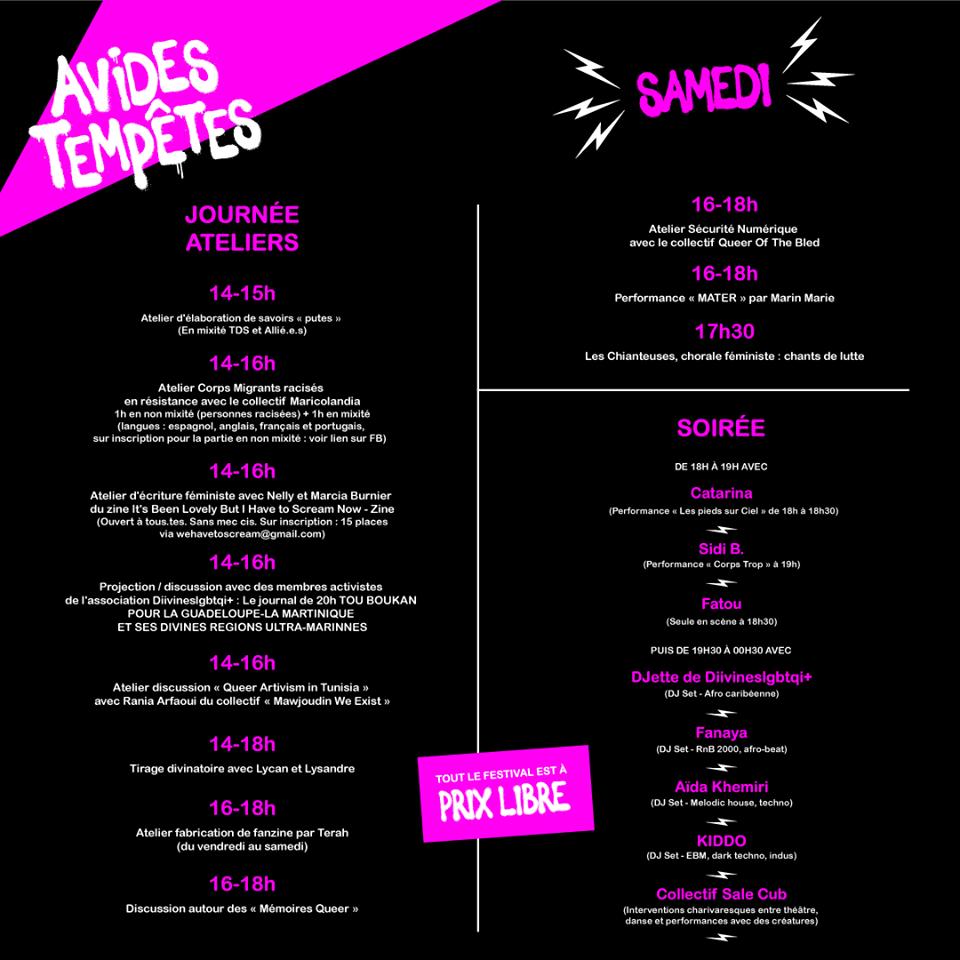 Programme du Festival TPG Avides Tempêtes à la Parole Errante à Montreuil samedi - Friction Magazine