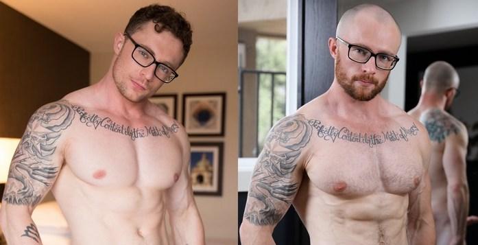 Avant, Markie More avec et sans cheveux. Acteur porno gay