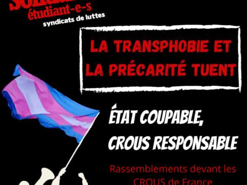 la transphobie et la précarité tuent - crous assassin de Doona