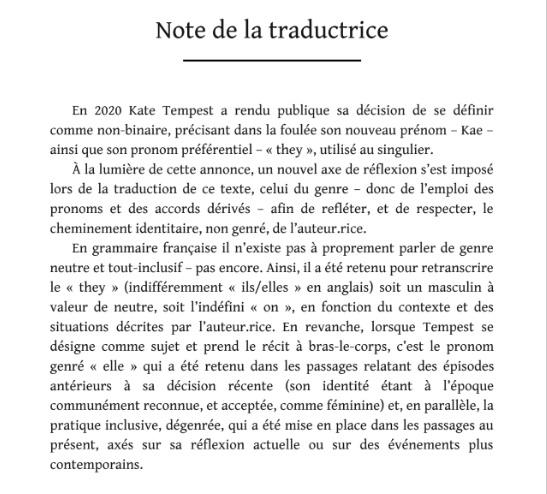 Note de la traductrice de Kate Tempest désormais Kae Tempest, auteur.e non-binaire