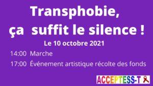 Transphobie ça suffit, le silence tue !